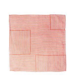 Serviette de table en lin Geometric rouge vermillon