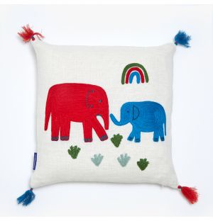 Housse de coussin Éléphant à pompons - 30 x 30 cm