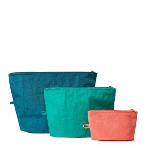 Trio de pochettes verts et corail