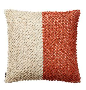 Housse de coussin en coton texturé rouge et beige - 50 x 50 cm