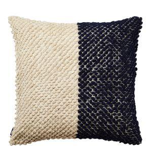 Housse de coussin en coton texturé noir et blanc - 50 x 50 cm
