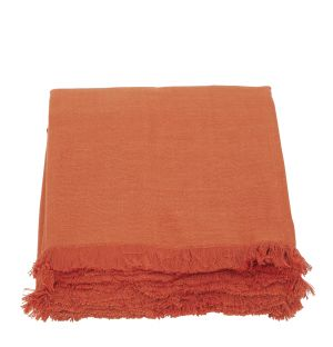 Jeté de lit double tissage orange - 220 x 240 cm
