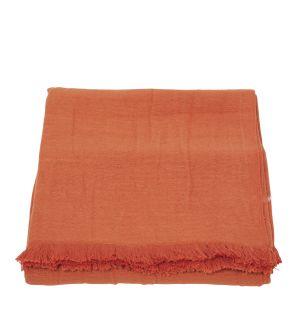 Jeté de lit double tissage orange - 140 x 220 cm