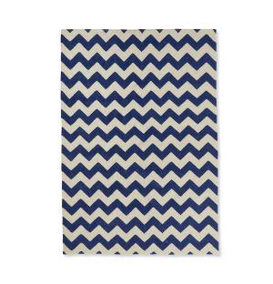 Tapis géométrique dhurrie bleu 170 x 240 cm