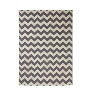 Tapis géométrique dhurrie gris 170 x 240 cm