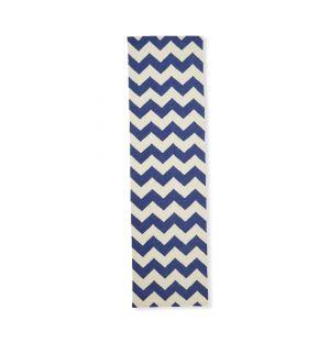 Tapis géométrique dhurrie bleu 70 x 250 cm