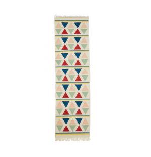 Tapis géométrique dhurrie multicolore 70 x 250 cm