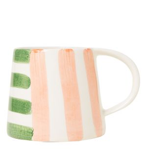 Mug en faïence rose et vert