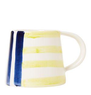 Mug en faïence bleu et jaune