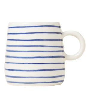 Mug en céramique à rayures bleues