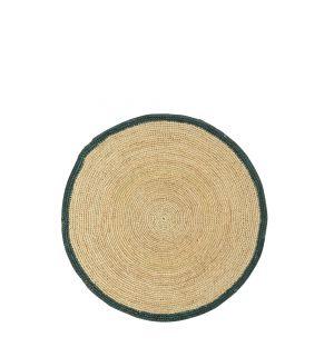Set de table en raphia à bordure verte