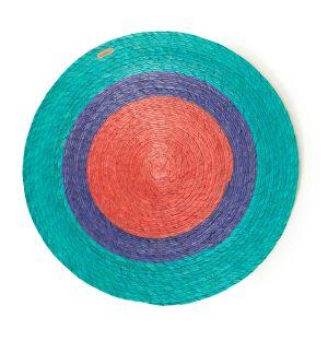 Set de table tressé turquoise et rouge