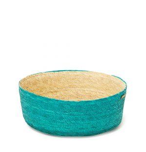 Panier turquoise en fibres de palmier