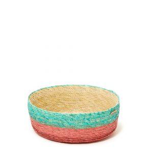 Panier turquoise et rouge en fibres de palmier