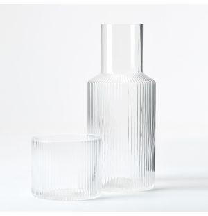 Carafe et verre Ripple en verre transparent