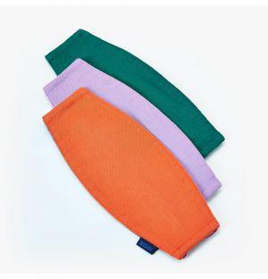Lot de 3 masques réutilisables - orange, mauve et vert