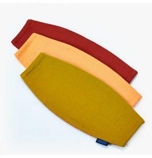 Lot de 3 masques réutilisables - orange, jaune et rouge