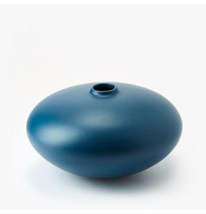Vase 02 en faïence bleue - Large