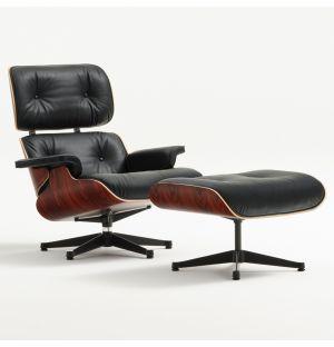 Lounge Chair et ottoman en cuir végétal Nero et noyer pigmenté