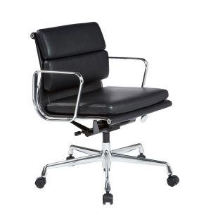 Chaise de bureau EA217 en cuir noir