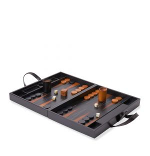 Jeu de backgammon en cuir noir