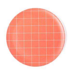 Assiette en bambou Grid rouge
