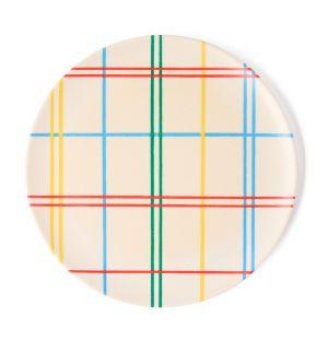 Assiette en bambou Grid multicolore