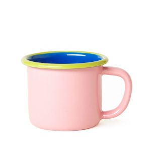 Mug en émail bleu et rose