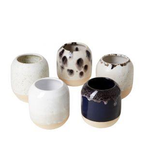 Pot à crayons noir et blanc en céramique