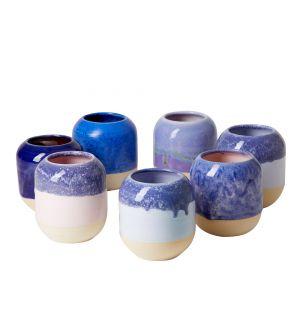 Pot à crayons bleu en céramique