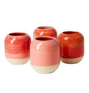 Pot à crayons rouge en céramique