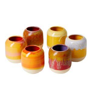 Pot à crayons orange et blanc en céramique