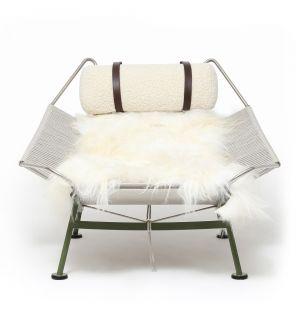Lounge Chair PP225 Flag Halyard vert olive et laine - Exclusivité