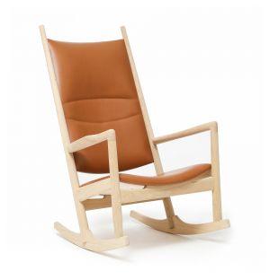 Rocking Chair PP126 en chêne savonné et cuir noyer Sørensen - Exclusivité