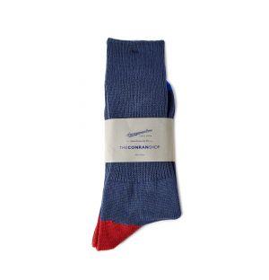 Chaussettes en coton bleu et rouge