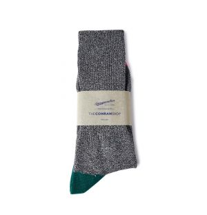 Chaussettes en coton gris et vert