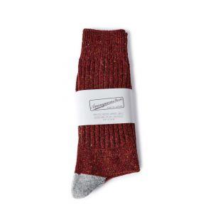 Chaussettes en tweed rouge et gris