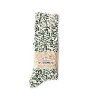 Chaussettes en coton mouchetée blanc et vert