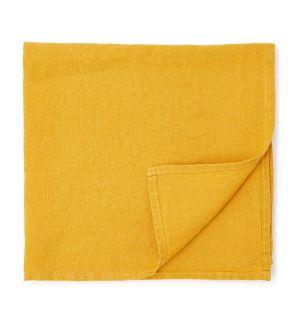 Serviette en lin jaune moutarde