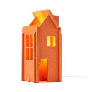 Lampe IO House en contreplaqué orange