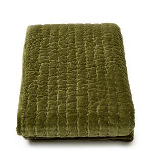 Plaid en velours vert matelassé - 150 x 200 cm