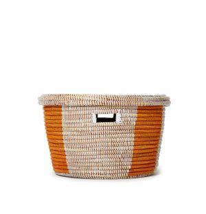 Panier de rangement beige et orange avec couvercle
