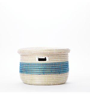 Panier de rangement bleu et blanc avec couvercle