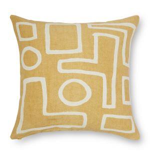 Housse de coussin Taku en lin jaune 45 x 45 cm