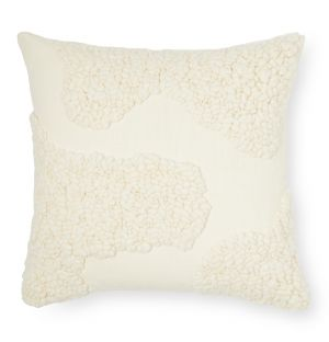 Housse de coussin Sappa en laine et coton blanc 45 x 45 cm