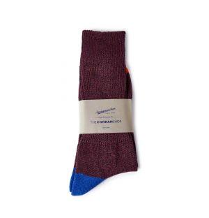 Chaussettes en coton bordeaux et bleu