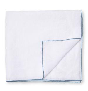 Serviette en lin blanche et bleue