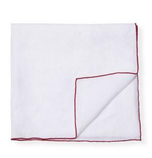 Serviette en lin blanche et rouge