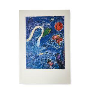 Affiche « Amoureux Au Soleil Rouge » par Marc Chagall