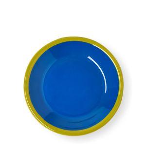 Petite assiette bleue et vert chartreuse